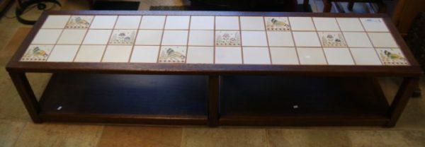 Vintage Inlay Ceramic Tile Coffee Table