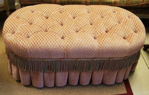 New Orleans Style Tufted Oval Cocktail Ottoman