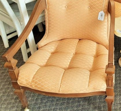 2-Vintage Tufted Arm Chairs Priced Separate
