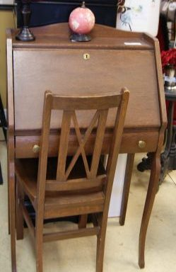 Antique Secretary Desk With Chair
