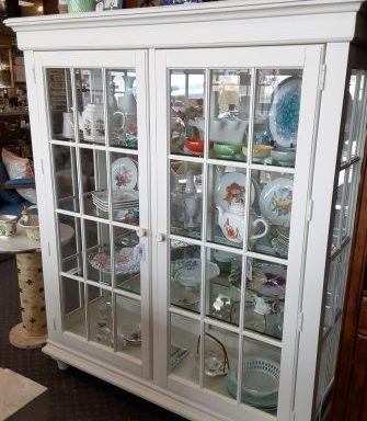 White Double Display Cabinet.