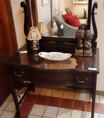 Antique Tiger Mahogany Vanity and Beveled Mirror