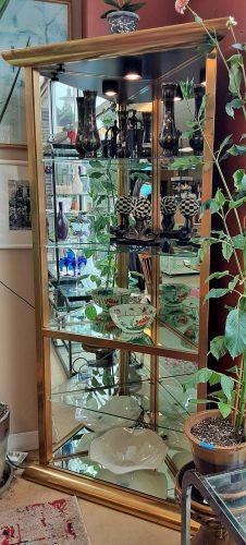 Corner Brass And Glass Display Unit