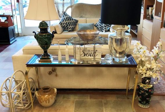 Brass And Beveled Glass Console