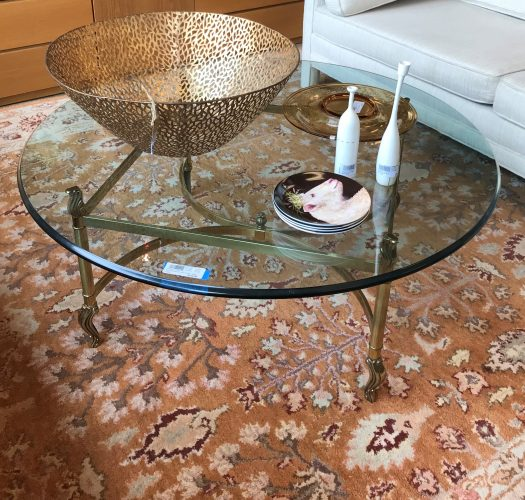 Glass And Brass Round Coffee Table