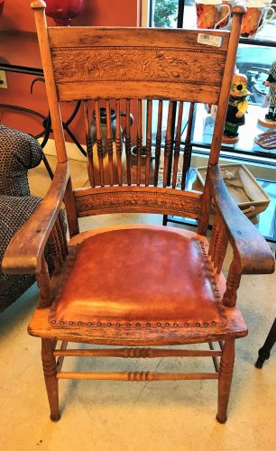 Antique Pressed Back Oak Spindle Arm Chair