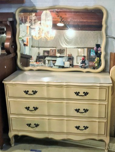French Provincial Dresser And Mirror Set