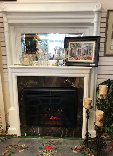 Fireplace Mantel w/Mirror & Electric Fireplace