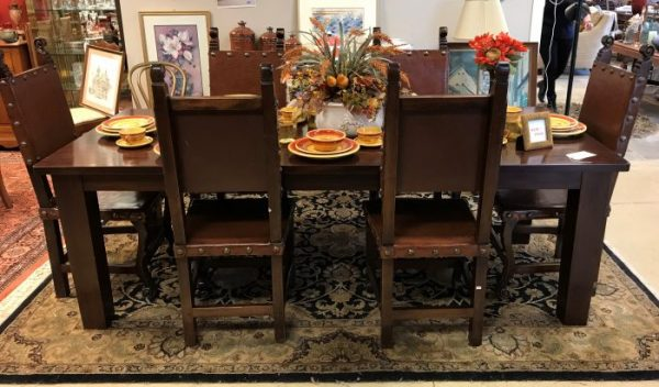 Walnut Farm Table And 6 Chair Set Sold Separate