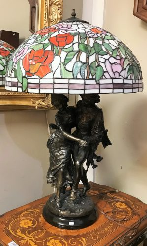 Tiffany And Bronzed Man and Lady Table Lamp