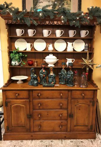 2 Piece Vintage Hutch Cabinet