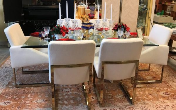 ELEGANT ~1970's Ello Italian Travertine Table With Thayer Coggin Chairs And Illuminated Display Cabinet With Bar Set