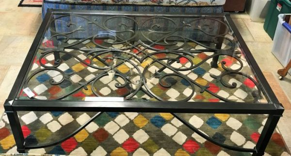 Decorative Beveled Glass Top Coffee Table