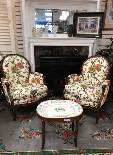 2-Vintage Down Custom Louis XV Style Accent Chairs Priced Separate