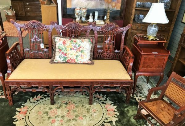 Hand Carved Bench Settee
