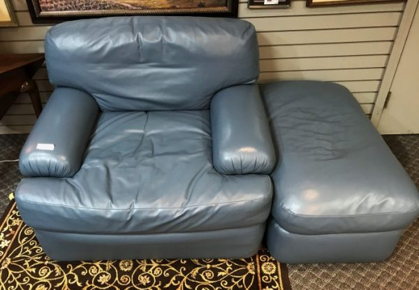 Perwinkle Blue Faux Leather Arm Chair And Ottoman