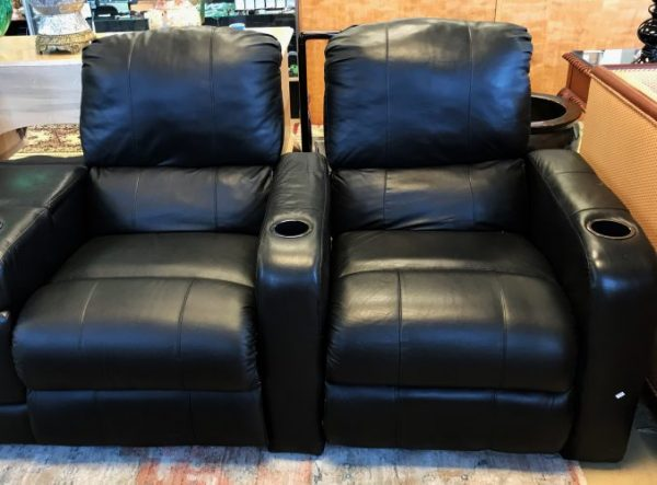Black Leather Recliner Theater Chair Set