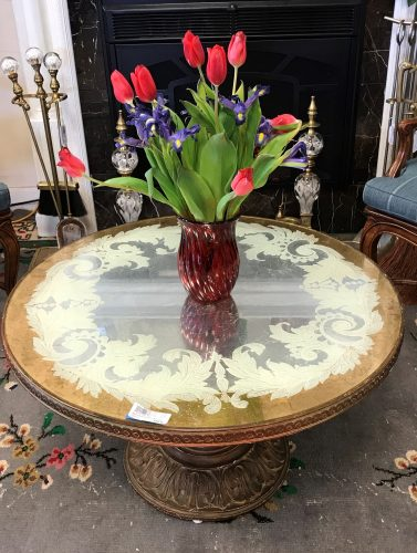 Antique Round Reverse Painted Coffee Table