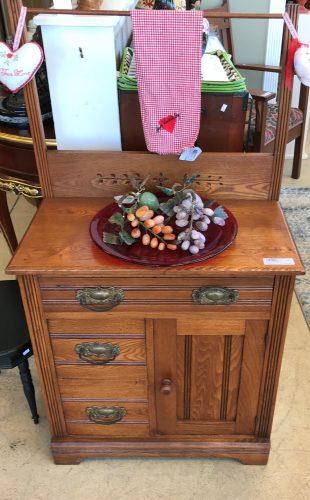 Vintage Oak Eastlake Washstand Cabinet