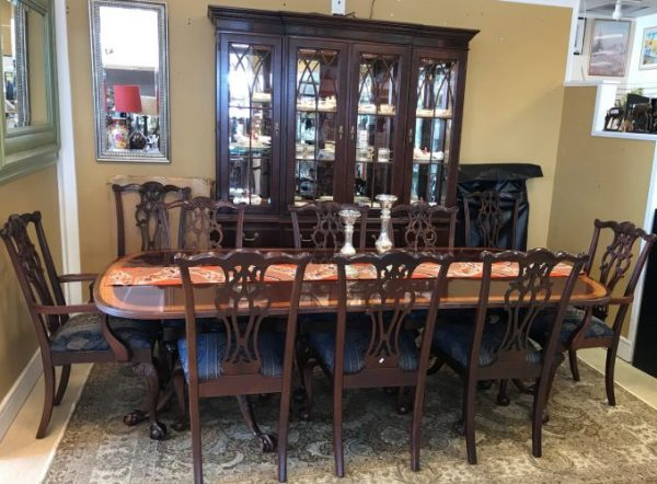 Ethan Allen Table And Chairs With Matching Breakfront Cabinet Sold Separate