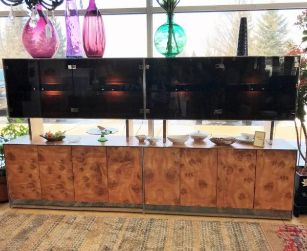 2- Mid Century Modern Burlesque Laminate Veneer Cabinets Priced Separate