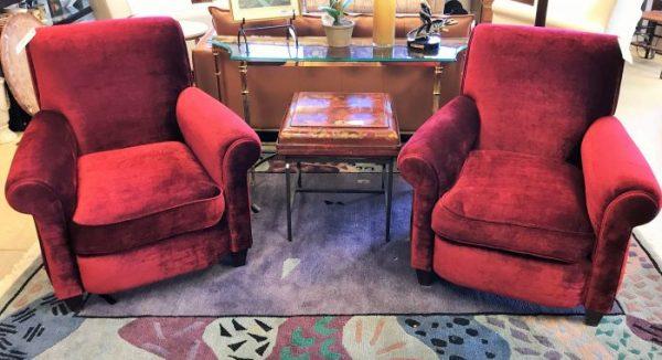 2-Custom Red Velvet Arm Chairs Sold Separate