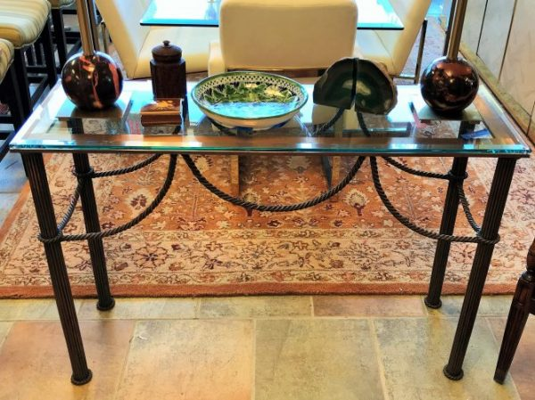 Glass Top Copper Console