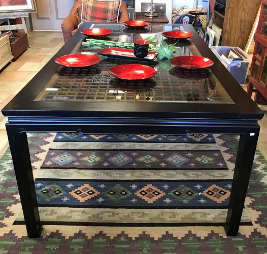 Vintage Ming Style Black Lacquer Glass Top Table