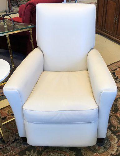 Natuzzi White Leather Recliner Chair