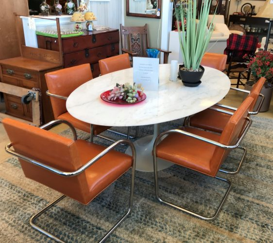 Vintage Saarinen Tulip Table With Six Mies Vander Rohe Style Tubular Cantilever Chairs Set