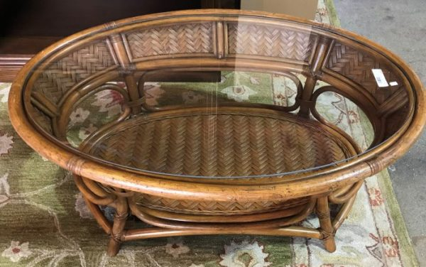 Oval Glass Top Bamboo And Rattan Coffee Table