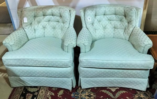 2-Custom Upholstered Tufted Arm Chairs Sold Separate