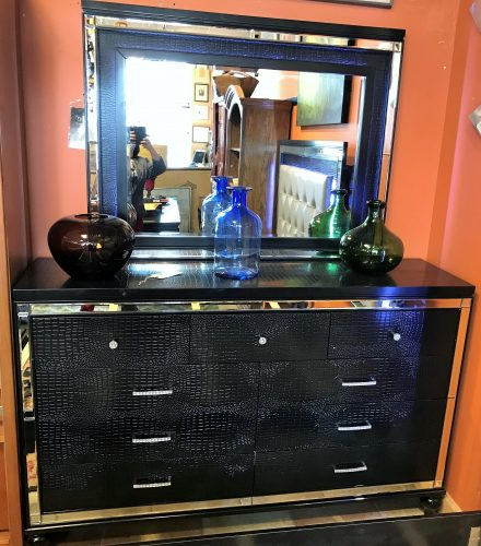 Valentino Black Light Up Mirrored Dresser And Matching Queen Size Upholstered Light Up Headboard Panel Bed Sold Separate