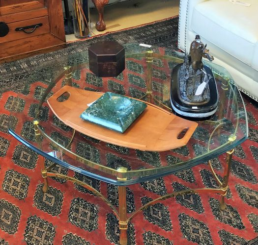 Italian Made Brass And Glass Coffee Table