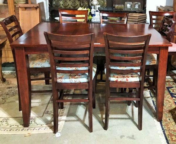 Self Storing High Top Table With 8 Chair Set