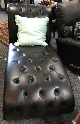 Bonded Leather Marbled Black And Brown Tufted Chaise Lounge Chairs Sold Separate