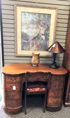 Vintage Cherry Kidney Shape Desk