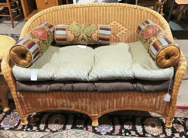 Pier 1 Imports Wicker Loveseat With Two Cushions Along With Side Table Sold Separate