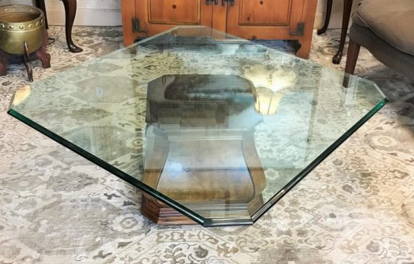 Henredon Burled Walnut Beveled Glass Coffee Table