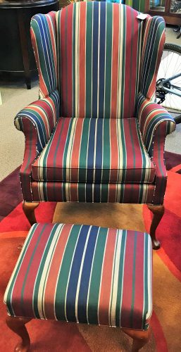 Striped Wing Back Chair And Ottoman