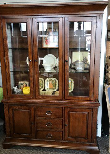 2 Piece Mission Style Oak China Cabinet