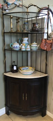 Corner Etagere With Granite And Glass Shelves