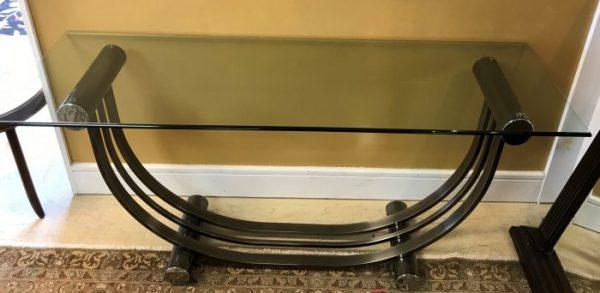 Romeo Rega Mid Century Modern Brushed Chrome Console Table