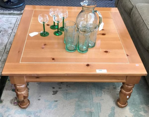Broyhill Smooth Knotty Pine Distressed Coffee Table and Side Table Sold Separate