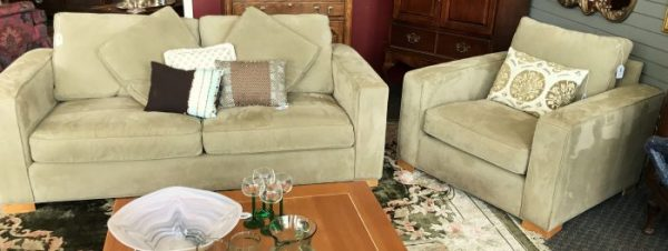 Arhaus Contemporary Suede Sofa And Arm Chair Sold Separate