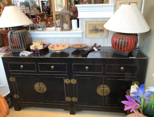 Asian Style Black Lacquered Buffet As Is