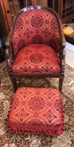 Antique L. Bellange French Bucket Chair With Ottoman