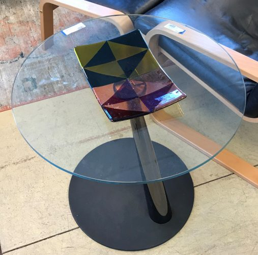 Contemporary Glass Top Iron Base Accent Table