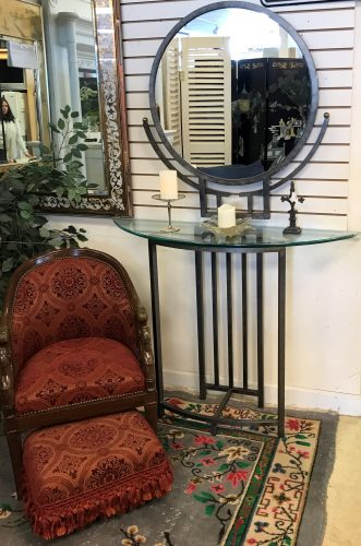 Modern Demilune Glass Top Table And Mirror Set
