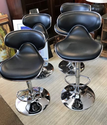Set of Two Swivel Adjustable Bar Stools Sold Separate